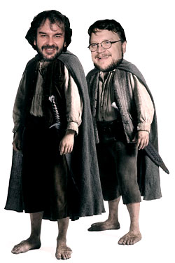 peter jackson and guillermo del toro as hobbits