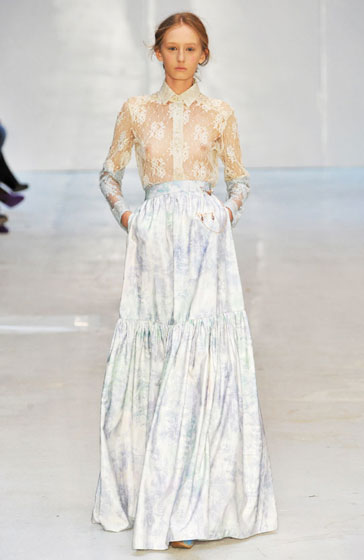 This Erdem top is quite risque compared to the rest of this <em>Little House on the Prairie</em> look.