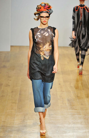 Betty Boop's checking out the revealed elements of this sheer tunic at Danielle Scutt.