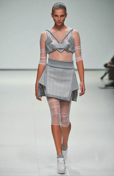 A space-age sci-fi look, also from Louise Goldin.