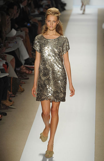 Short, shiny, and sweet, Peter Som's gold number makes dressing for a night out easy.