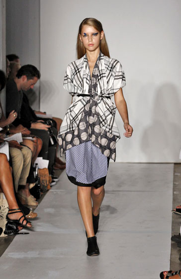 Zero Maria Cornejo did her own version of layering and playing with fabrics. Plaid is officially back.