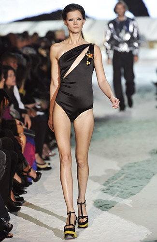 It's like all that Cavalli animal print morphed into a creature and clawed the front of this one-piece.