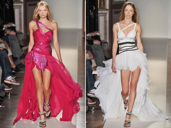 Balmain's sequined and sexy high-low hemline dresses.