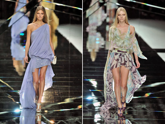 One color or one print? Elie Saab offers up a bunch of colorways and hemlines.
