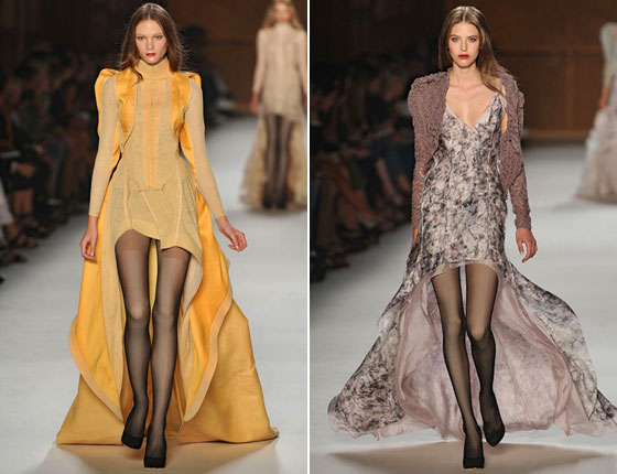 Olivier Theyskens kicked off Paris Fashion Week day one with almost an entire collection of these hemlines at Nina Ricci.