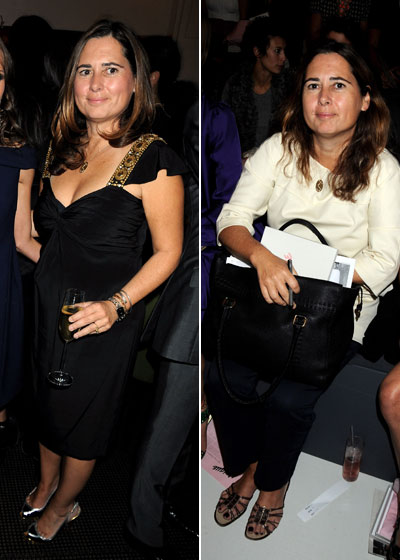 The British <em>Vogue</em> editor attended a party for her magazine during London Fashion Week in a demure frock with a flashy pair of kicks. On the right she sits front row at the Topshop show in what appear to be (gasp) flats!