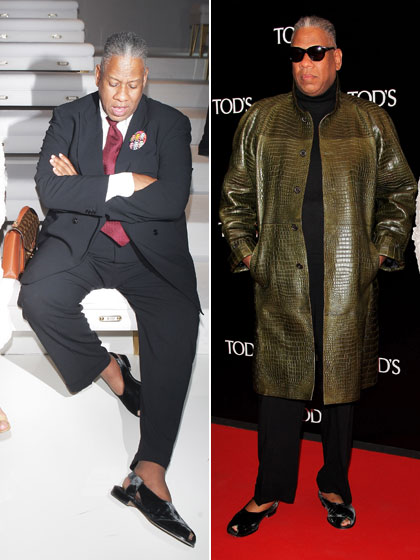 Andre sure loved his mandals this season. At left he pairs them with his Barack Obama pin at the Gucci show in Milan. And at right he sports his green crocodile jacket to a dinner for Tod's, also in Milan.