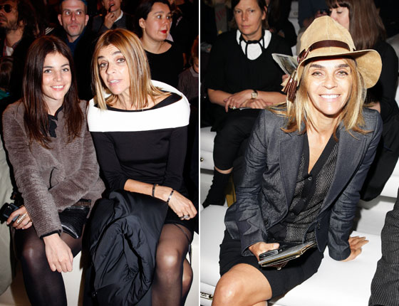 On the left Carine appears at the Chloe show with her daughter Julia in Paris. On the right she appears at the Gucci show in Milan. Of course, she wears a cowboy hat <em>before</em> they show up on runways across Paris.