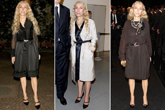 Looks like Italian <em>Vogue</em> editor Franca Sozzani has a favorite pair of shoes! Eschewing stereotypical Italian flashiness, she wears them on the left and center here to parties for Russian <em>Vogue</em> and Ferragamo in Milan. On the right she attends the Dolce & Gabbana after-party. Go waist belts!