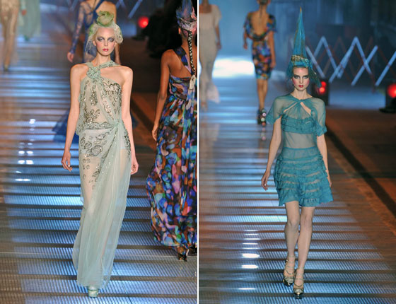 Galliano's sheer dresses ranged from goddess to frilly.