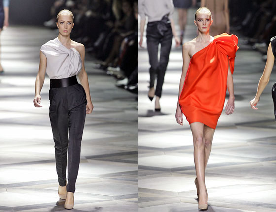 Alber Elbaz knows how to drape a dress. And even in pants the Lanvin woman is sexy and chic.