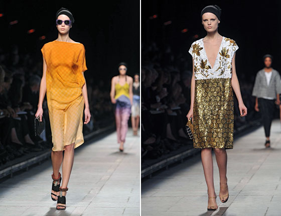 We loved Van Noten's dip dyes. But his metallics and sequins were just as eye-catching.