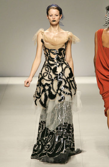 Perhaps not the most wearable collection, Vivienne Westwood's show was interesting, beautiful, and, as this gown demonstrates, elegant.