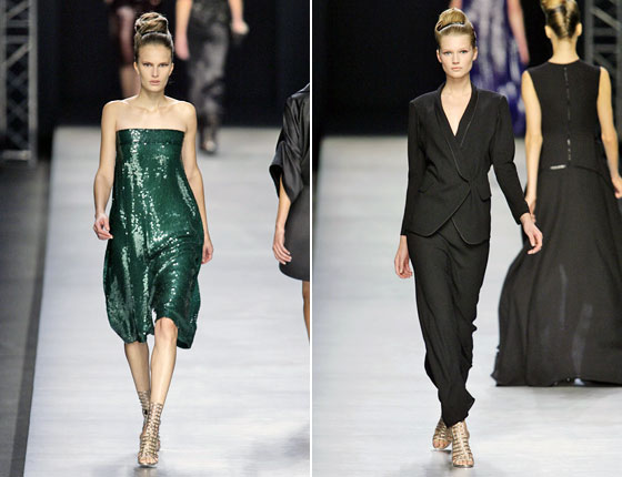 Stefano Pilati's tribute to Yves Saint Laurent included a smoking jacket, right. We loved the cut and color of the dress, which could have come straight from the archives, with some updates, of course.