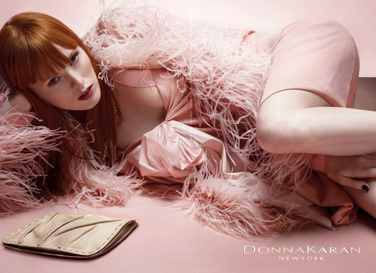 "Michael Thompson shot Karen Elson for Donna Karan. Known for her trademark ginger hair and shaved eyebrows, the model once termed ""alien beauty,"" looks divine."