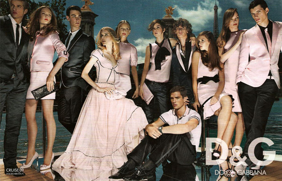 Mario Testino shot Karmen Pedaru, Elsa Sylvan, Zuzana Straska, Kelly Kopen, Cato van Ee, and Jules Mordovets for D&G. Yes, it's busy, but who doesn't like a man in pink?