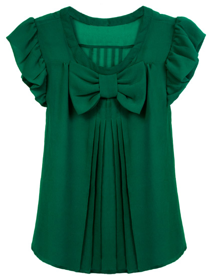 This ruffled, pleated blouse is feminine without being overwhelmingly girlie. <em>Delicia Emerald Sheer Bow Blouse, $40</em>.