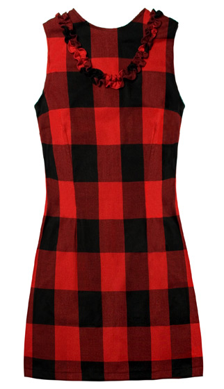 This bargain shift dress comes in trendy Buffalo check for fall, with feminine ruffles along the front. <em>Nooworks Lady Lumberjack Ruffle Dress, $64</em>.