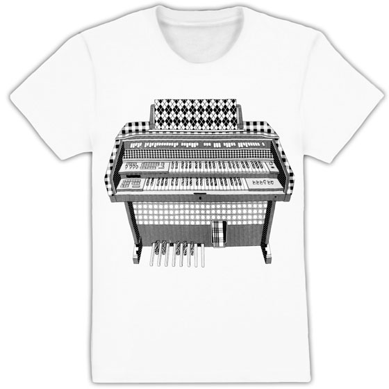 California streetwear brand Public Domain creates artsy screen-printed T-shirts, like this argyle, plaid, and houndstooth-swathed organ print. <em>Public Domain Men's Argyle Organ Tee, $26</em>.