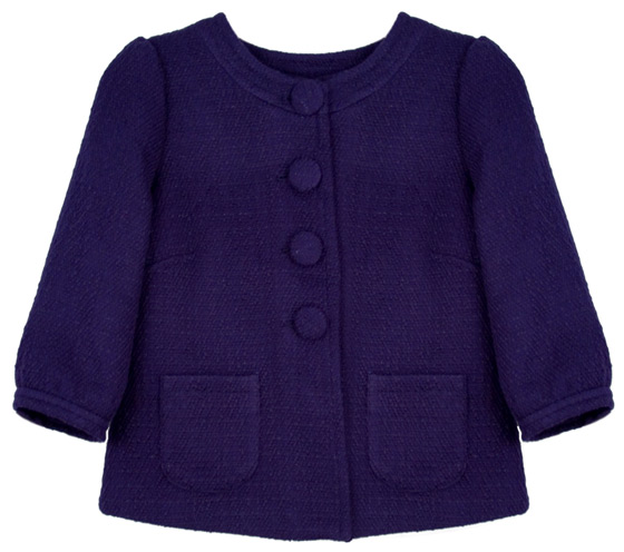 The deep-purple hue and funky buttons brighten up this cropped fall jacket. <em>BB Dakota Duncan Jacket, $48</em>.