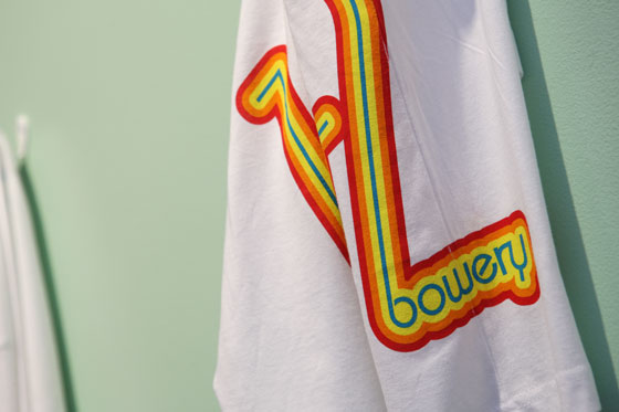 "A limited-edition T-shirt printed with ""169 Bowery."""