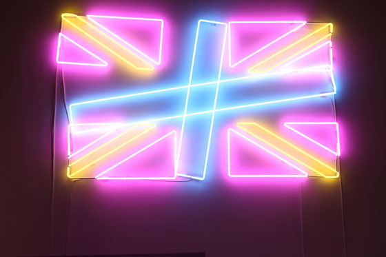 A revamped, neon version of the Reebok logo in the store.