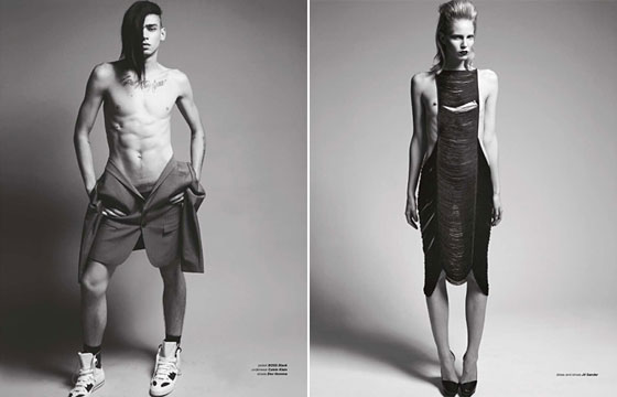 On the left is the Alice Dellal of male models in a BOSS Black jacket, Calvin Klein manties, and Dior Shoes. On the right is one of our favorite pieces of the spring 2009 season -- a fringe dress by Jil Sander. Both these images make us a tad uncomfortable, but we love that they make us feel something.