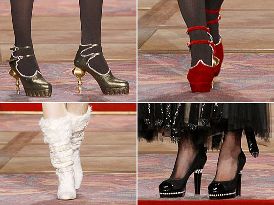 From heels that look like Russian palaces (upside down) to furry white boots to rhinestone-encrusted pumps, Chanel's shoes were all over the place. And we want more.