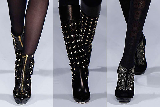 Studded zipper heels and knee-high boots hit the runways at Oscar de la Renta.
