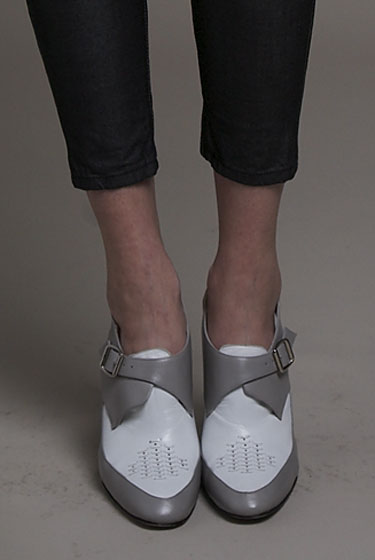 The casual, menswear-inspired loafers at rag & bone. We're digging the gray-on-white.