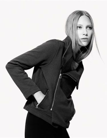 Jackets range from $100 to $190, like this asymmetrical zip-up.