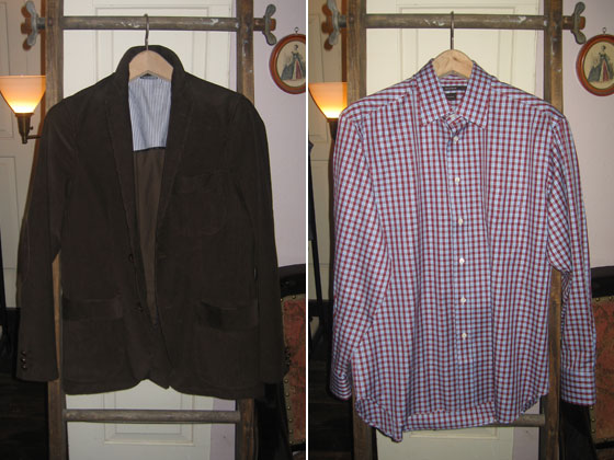 At left, an unlined corduroy sports coat in  brown, $495; right, cotton shirt, $165.
