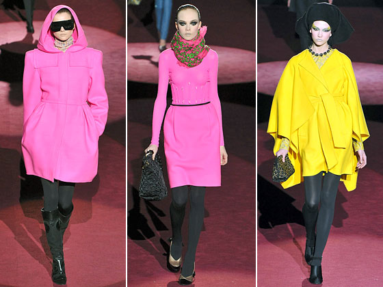 This is just a sampling of the electric eighties colors at Marc Jacobs. It's so bright, we thought we needed sunglasses.