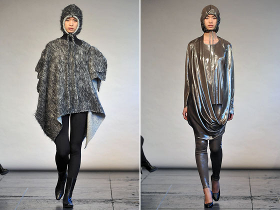 Yeohlee played with texture, showing hairy and metallic hoods.