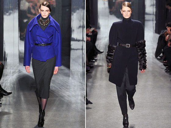 Donna Karan's belted jackets featured expanded turtlenecks and collars.