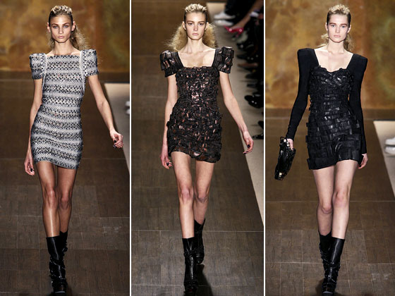 Max Azria opted for a twist on his traditional bandage dresses by adding pronounced square shoulders at Herve Leger.