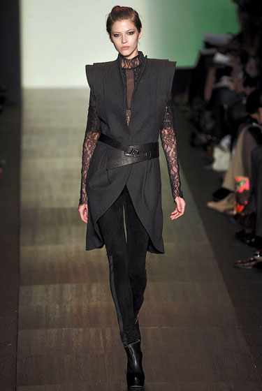 The tunic at Max Azria offered three layers of shoulder pads for a rectangular shape.
