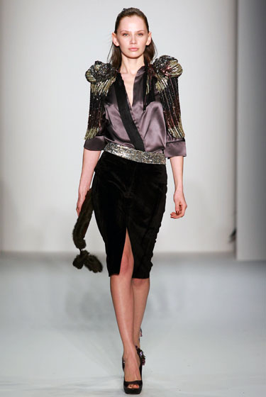 Toni Maticevski added colored beads and patterns, complementing a silk lavender top and black pencil skirt.