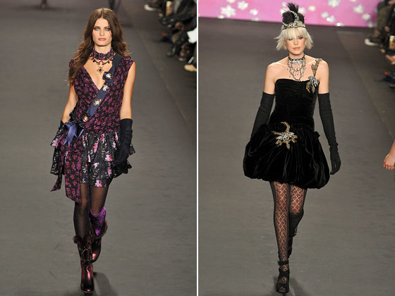 Anna Sui's black gloves came in different lengths.