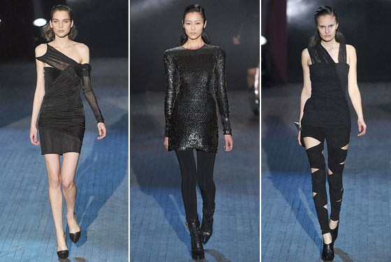 "Skintight, textured, and sheer, <a href=""http://nymag.com/fashion/fashionshows/2009/fall/main/newyork/womenrunway/alexanderwang/"">Alexander Wang's</a> collection was hard-hitting -- a win for the CFDA-fund winner."