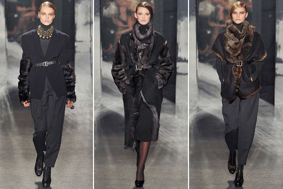 "Between the shearling gauntlets (not fur, PETA!) and the Robert Lee Morris necklaces, <a href=""http://nymag.com/fashion/fashionshows/2009/fall/main/newyork/womenrunway/donnakaran/"">Donna Karan's</a> collection was accessorized to the hilt. The clothing was some of her best yet."