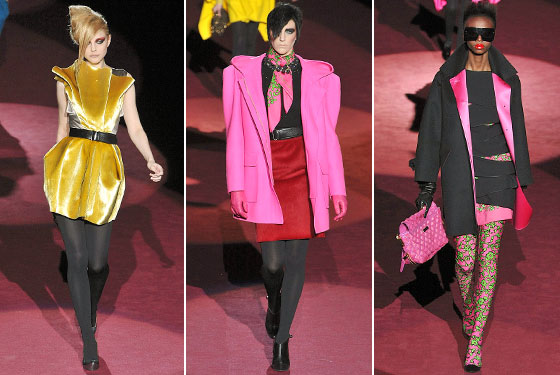 "<a href=""http://nymag.com/fashion/fashionshows/2009/fall/main/newyork/womenrunway/marcjacobs/"">Marc Jacobs</a> took us on a trip back to the eighties. Always pushing the envelope, his colors were bolder and brighter and his shoulders bigger and pointier. Denizens in black, get ready for neon."
