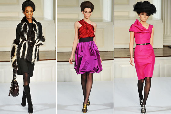 "<a href=""http://nymag.com/fashion/fashionshows/2009/fall/main/newyork/womenrunway/oscardelarenta/"">Oscar de la Renta</a> showed the ladylike looks we've come to love him for. But he also gave us the bold colors and one-shouldered looks we've been seeing on the runways. So on trend!"