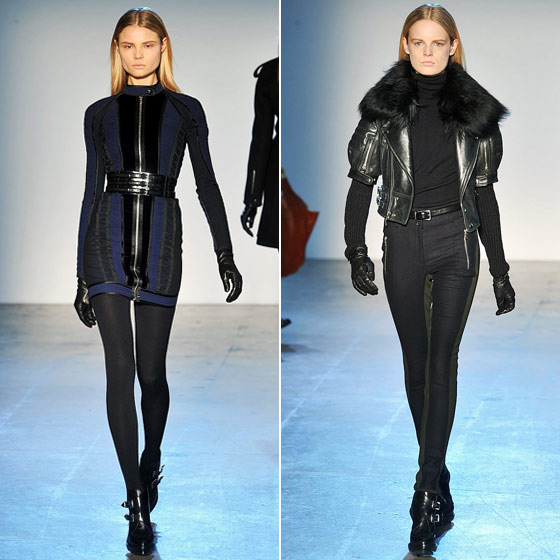 Phi's dresses were zipped and buckled and black, black, black. We loved the new twist on the leather bomber jacket.