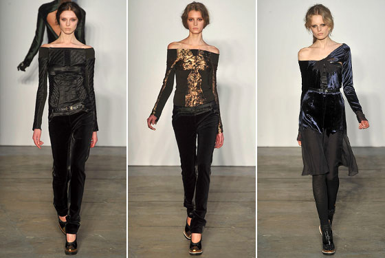 "We loved <a href=""http://nymag.com/fashion/fashionshows/2009/fall/main/newyork/womenrunway/proenzaschouler/"">Proenza's</a> off-the-shoulder tops, metallics, and velvet dresses. This was one of the strongest collections they've had yet."