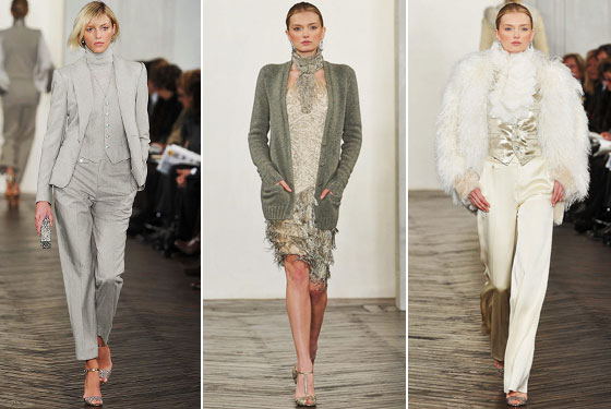 "<a href=""http://nymag.com/fashion/fashionshows/2009/fall/main/newyork/womenrunway/ralphlauren/"">Ralph's</a> collection was country living at its best. We love the Mongolian fur jacket, and the pairing of an evening dress with a comfy sweater. A suit and a pageboy equal Ralph's homage to the eighties."