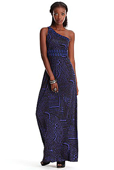 "BCBG Max Azria Tribal Scales one-shoulder maxi dress, $198 at <a href=""http://nymag.com/listings/stores/bloomingdales01/"">Bloomingdale's</a> or <a href=""http://www1.bloomingdales.com/catalog/product/index.ognc?ID=477455&CategoryID=19961"">online</a>."
