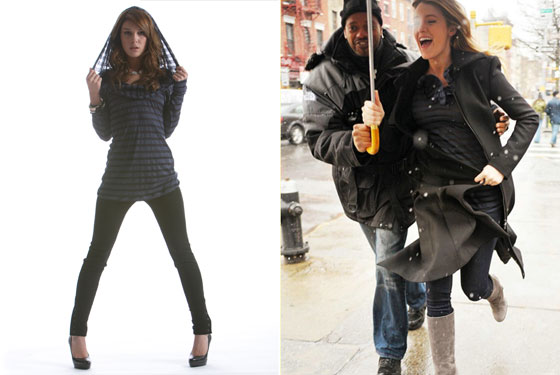 A look from Erin Kleinberg's fall 2008 collection. Shanae Grimes modeled for the look book, and Blake Lively wore a hooded tee.