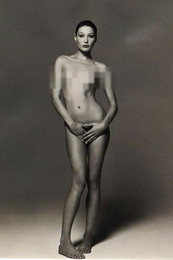 Female frntal body nudity